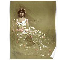 Vintage girl in dress Poster