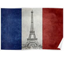 Vintage national flag of France with Eiffel Tower insert Poster