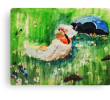 Lounging amongst the flowers, watercolor Canvas Print