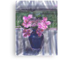 LaceCap Hydrangea in Blue Vase Canvas Print