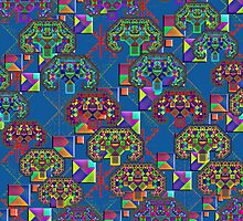 """Pythagorean Triples Squares Trees""© by Lisa Clark - Thinker Collection STEM Art and MORE"
