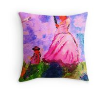 Windy day for a walk on hill, watercolor Throw Pillow
