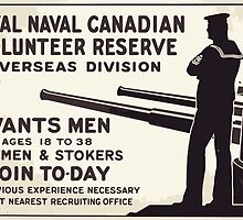 Royal Naval Canadian Volunteer Reserve Overseas Division wants men ages 18 to 38 Seamen & stokers Join to day by wetdryvac