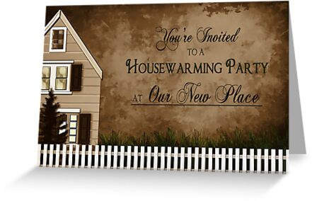 Housewarming invitation warmth greeting cards by trudy greeting cards tags greeting invitation invite warm brown tones housewarming stopboris