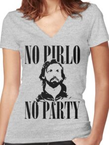No Pirlo, No Party v2 Women's Fitted V-Neck T-Shirt