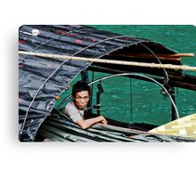 fisherman and his mobile phone Canvas Print