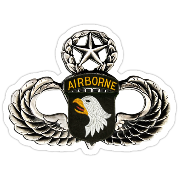 101st Airborne Division patch on sliver jumpwings. by Walter Colvin