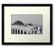 Umbrellas in Beijing 17 arch bridge Framed Print