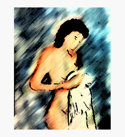 The nude with towel. watercolor Photographic Print