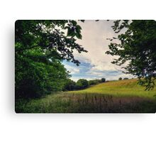 Framed View Across the Fields from Groudle Glen Canvas Print