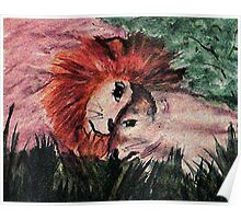 Lets snuggle babe, lion love, watercolor Poster