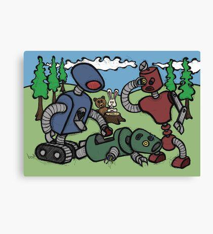 Teddy Bear And Bunny - Cannibals Canvas Print