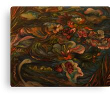 Water Lilies Disturbed by My Rowboat Canvas Print