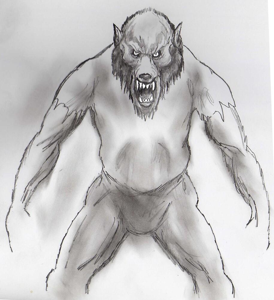 Snarling werewolf by mattycarpets