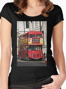 Vintage Red London Bus Women's Fitted Scoop T-Shirt