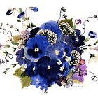 Kathie McCurdy Pressed Flowers - Fancy Free Blue Pansies by Kathie McCurdy