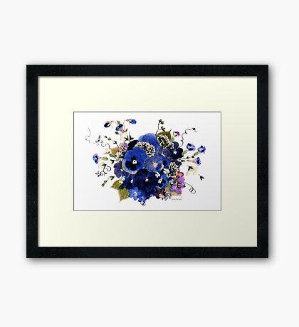 Kathie McCurdy Pressed Flowers - Fancy Free Blue Pansies Framed Print