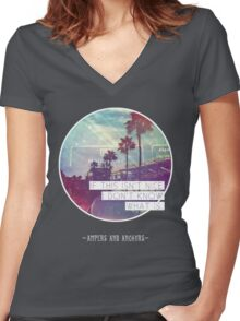 The Vonnegut - Palm Trees Women's Fitted V-Neck T-Shirt