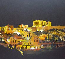 The Acropolis of Athens by night by SAMIR SOKHN