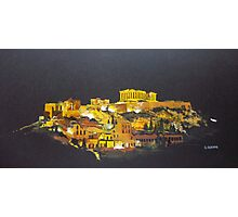 The Acropolis of Athens by night Photographic Print