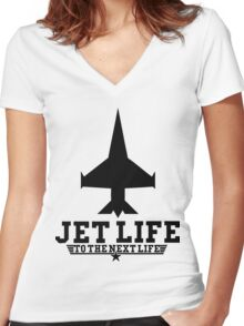 Jet Life Women's Fitted V-Neck T-Shirt