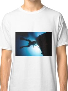 underwater Commercial diver welding pipes underwater. Classic T-Shirt