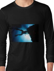 underwater Commercial diver welding pipes underwater. Long Sleeve T-Shirt