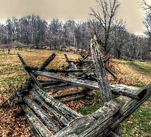 Old Colonial Wood Beamed Fence at the Wick Farm by Jane Neill-Hancock
