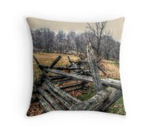 Old Colonial Wood Beamed Fence at the Wick Farm Throw Pillow