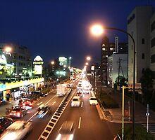 Tokyo street at night by MOFS