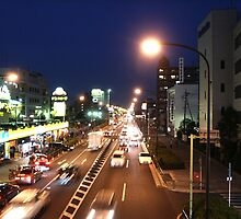 Tokyo street at night by MOFS