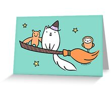White Kitty Cat Witch with Owl & Bat Greeting Card
