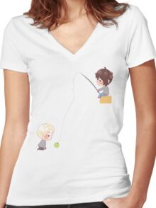 Chibi Drarry - Fishing Women's Fitted V-Neck T-Shirt