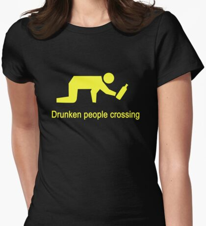 Drunken People Crossing Traffic Sign Womens Fitted T-Shirt