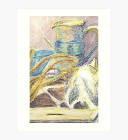 Skull & Pitcher Color Pencil & Water colour Art Print