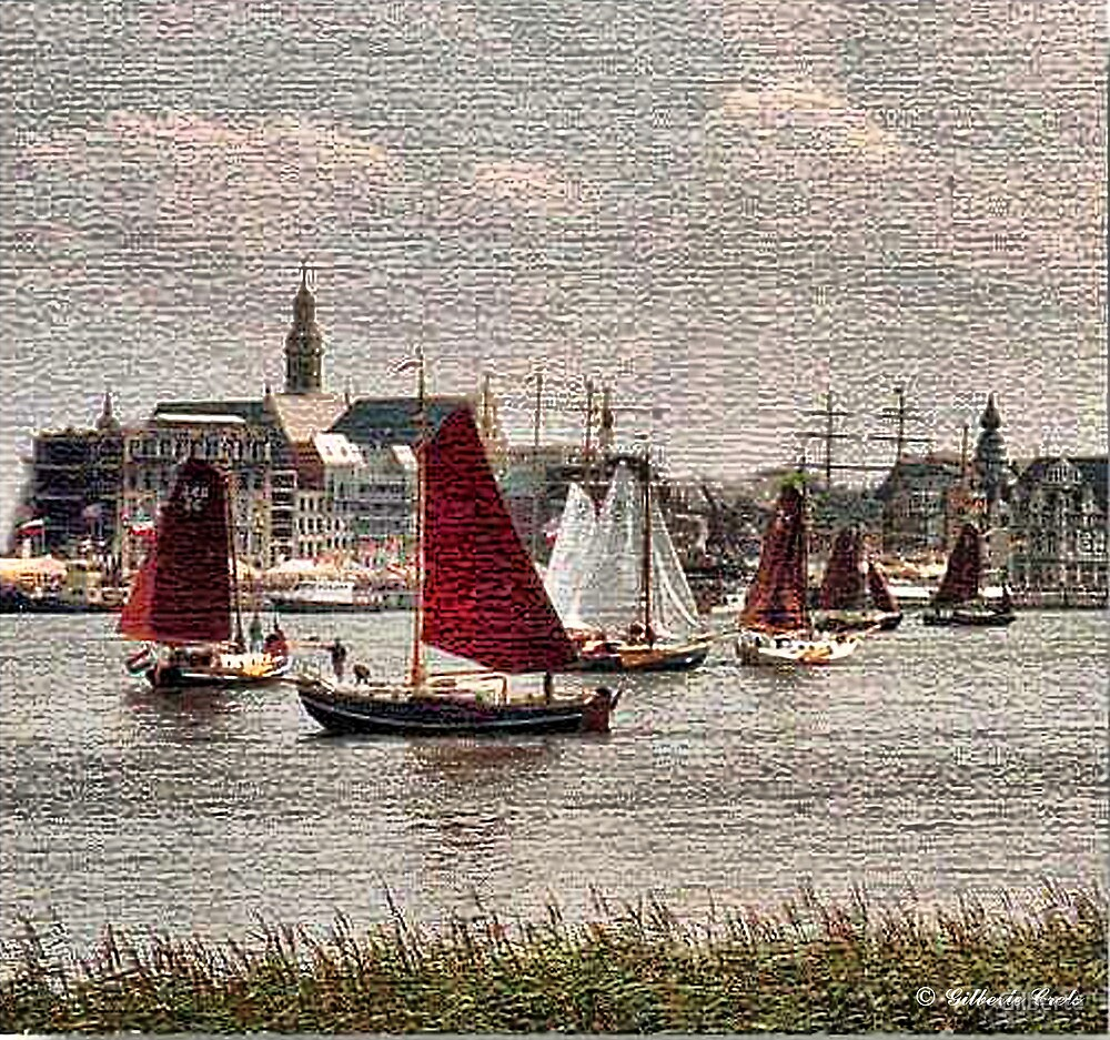 Sailboats in Antwerp by Gilberte