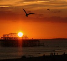 A Brighton sunset Sticker