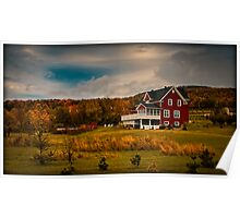 A Red House in a Fall Countryside Poster