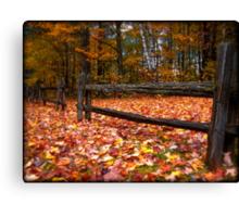 Cedar Log Fence on a Carpet of Autumn Leaves Canvas Print