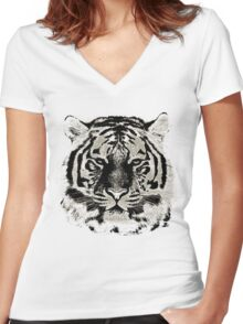 Tiger Face Close-up Women's Fitted V-Neck T-Shirt