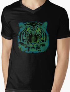 Tiger Face Mens V-Neck T-Shirt