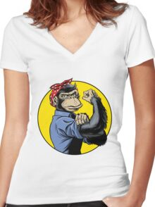 Chimp Power! Women's Fitted V-Neck T-Shirt