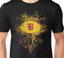 Retro Damask Pattern with Monogram Letter B Unisex T-Shirt
