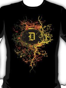 Retro Damask Pattern with Monogram Letter D T-Shirt