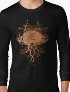 Retro Damask Pattern with Monogram Letter E Long Sleeve T-Shirt