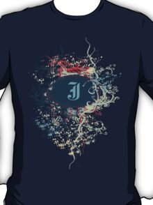 Retro Damask Pattern with Monogram Letter J T-Shirt