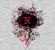 Retro Damask Pattern with Monogram Letter N Unisex T-Shirt