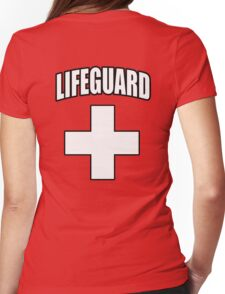 Lifeguard, Rescue, Life Saver, Swim, Swimmer, Emergency, on Red Womens Fitted T-Shirt