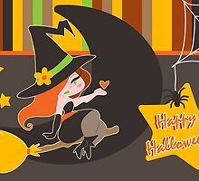 """""""Happy Halloween"""" Cute Redhaired Witch by SaradaBoru"""