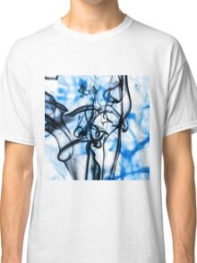 Black and Blue Abstract Smoke Pattern Classic T-Shirt